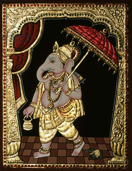 Tanjore Painting of Ganesha Artist Unknown