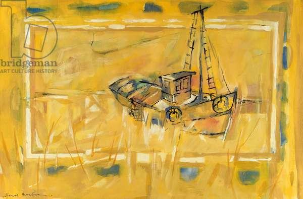 Beached Boat 1993 Hamish MacEwan (20th C./ American) Gouache On Paper