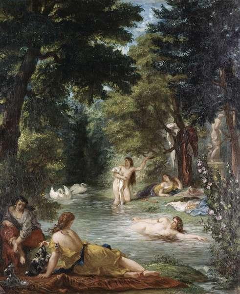 Turkish Women Bathing (oil on panel)