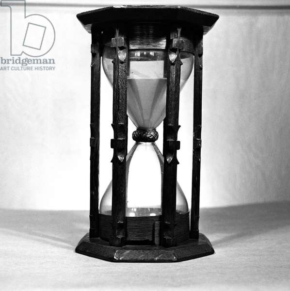 Close-up of an antique hourglass