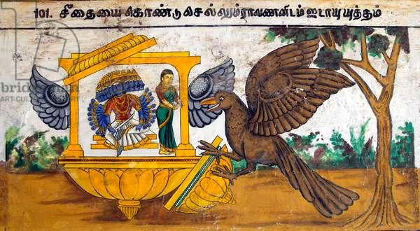Murals- Epic Ramayana-Wall Paintings in Ramasamy Temple at Kumbakonam, Tamil Nadu, India- When Ravana Kidnapped Sita, Jatayu, King of Eagles attacked Ravana. In the encounter, Ravana unsheathed his sword and cut both the wings of Jatayu. Artist Unknown