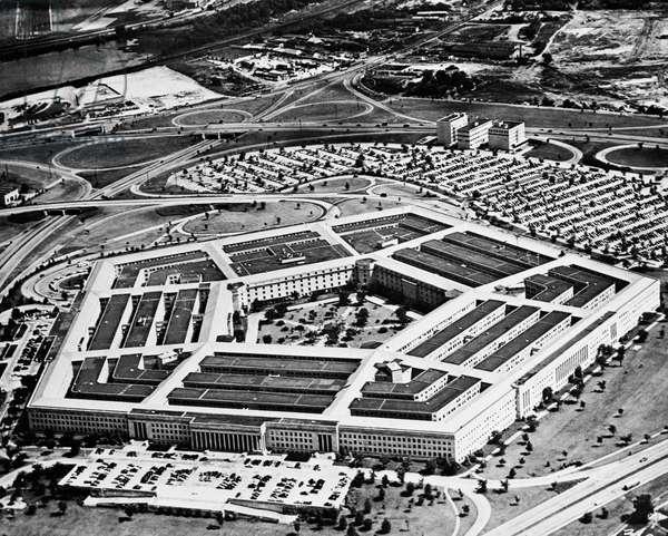 Aerial view of a military building, The Pentagon, Arlington, Virginia, USA