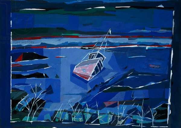 Beach 1996 Hamish MacEwan (20th C./American) Acrylic On Paper