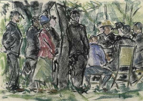 Bridge Game In The Park With Spectators ca.1930 Ethel Ashton (1896-1975/American) Pastel on paper David David Gallery, Philadelphia
