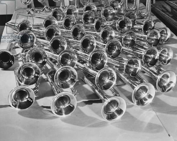 High angle view of trumpets