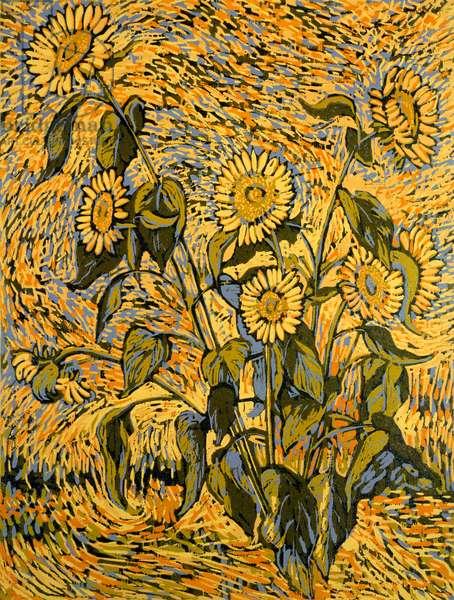 Sunflowers (colour woodcut)