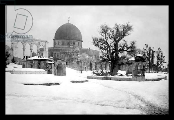 Snow in Jerusalem at the Mosque, Classic Photography