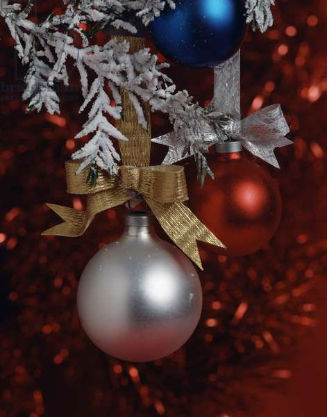Close-up of Christmas ornaments on a Christmas tree