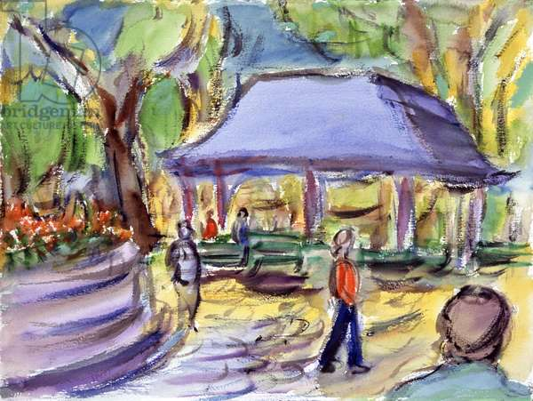 Pavilion In The Park, Watercolor painting by Richard H. Fox