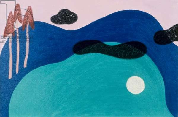 Moonlight on Cooper Lake, 1991, Catherine Hazard (b.1954 American), Oil on canvas