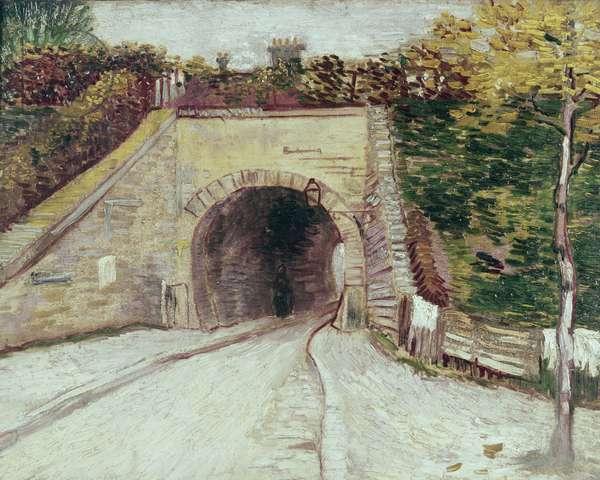 Tunnel through hillside (oil on canvas)