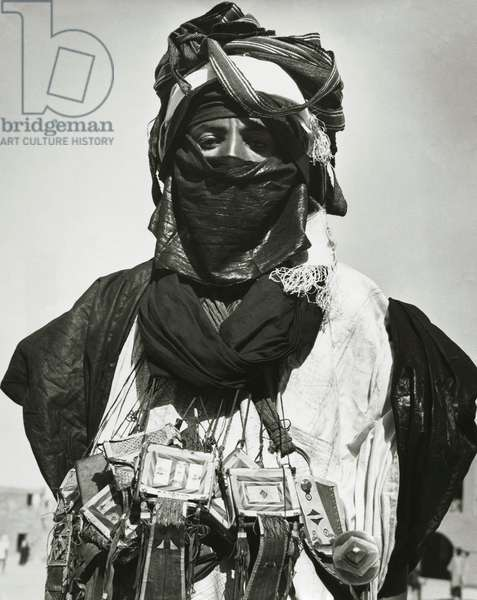Close-up of a Tuareg tribal man in traditional clothing