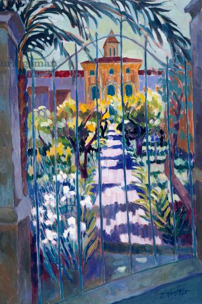 Pollensa Garden by Josephine Trotter, oil on canvas, born in 1940