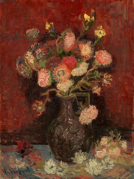 Vase with Chinese asters and gladioli (oil on canvas)