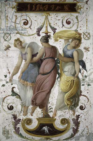 Detail of decorative panel with three female dancers (panel)