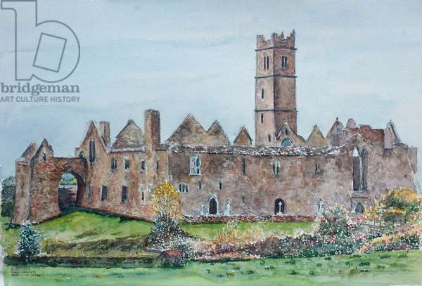 Ireland, Quin, Ruins of Franciscan monastery by Anthony Butera, watercolor, 2009, 21st century