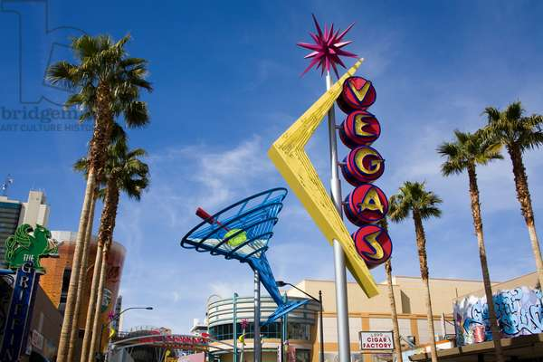 Low angle view of a neon sign, Fremont Street, Neon Museum, Las Vegas, Nevada, USA (photo)