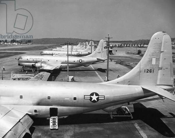 High angle view of military airplanes at a military base, Boeing KC-97 Stratofreighter