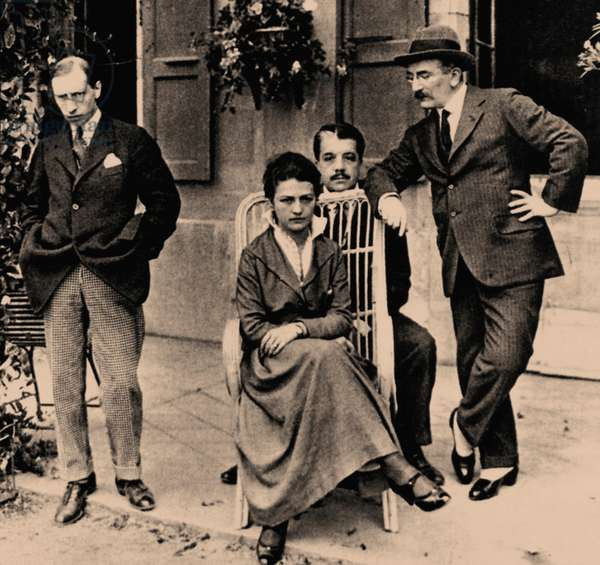 Igor Stravinsky, Sergei Diaghilev and Leon Bakst (b/w photo)