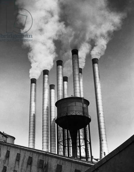 Smoke emitting from smoke stacks, River Rouge Plant, Ford Motor Company, Dearborn, Michigan, USA
