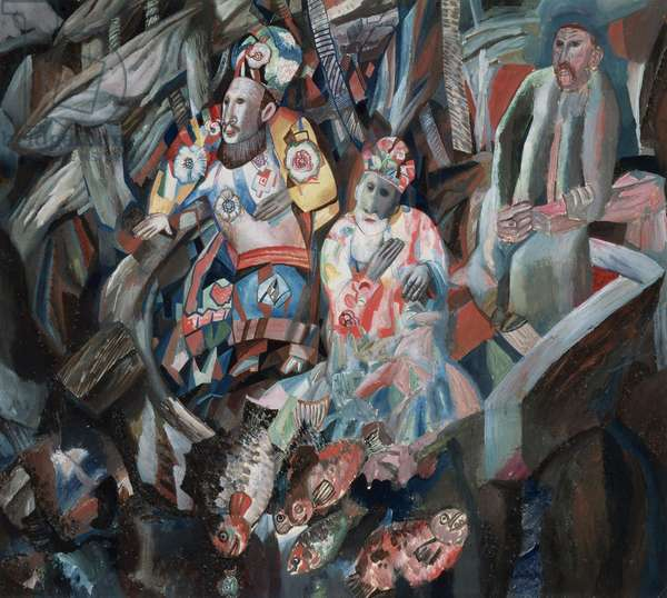 East and West,  1912-13 (oil gouache on paper)