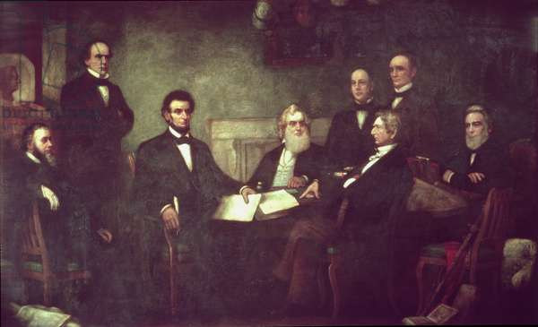 The First Reading of the Emancipation Proclamation (oil on canvas)