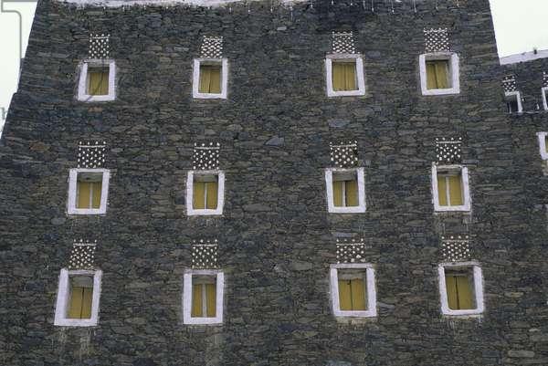 Windows of the Rijal Alma Museum, Wadi Al Aws, Saudi Arabia (photo)