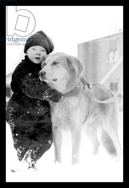 Child with Dog in Alaska, Classic Photography