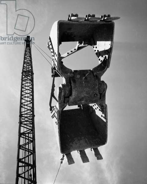 Low angle view of a scoop of crane