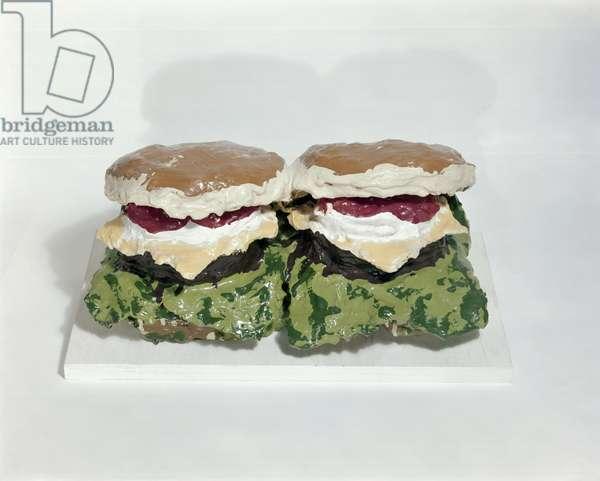 Burgers, c.1962 (burlap, plaster & enamel)
