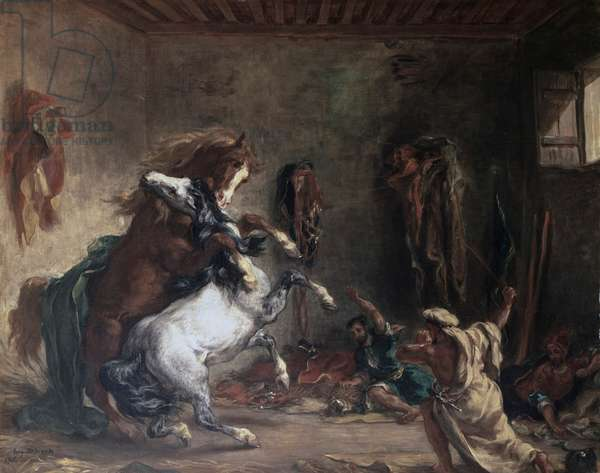 Arabian Horses Fighting in a Stable, 1860 (oil on canvas)