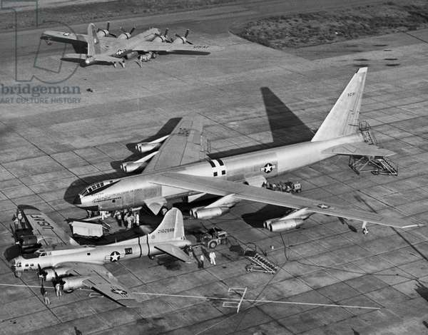 High angle view of two military airplanes on a military base, B-52 Stratofortress, Boeing SB-17, B-50 Superfortress