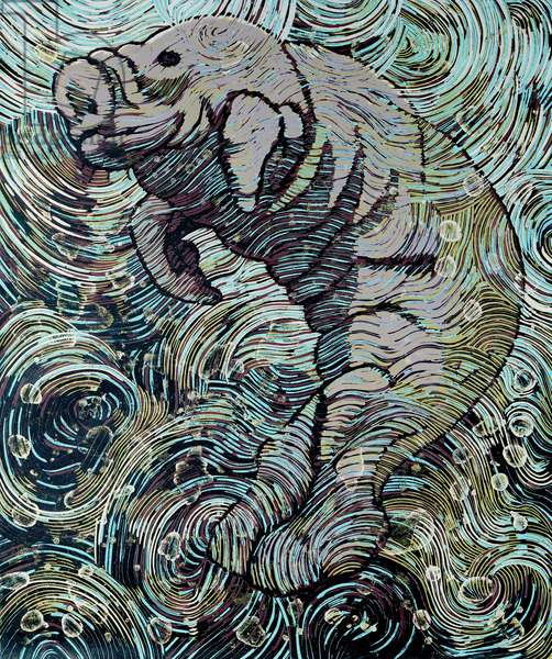 Manatee (colour woodcut)