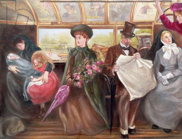 Sunday Morning on a Fifth Avenue Omnibus (colour litho)