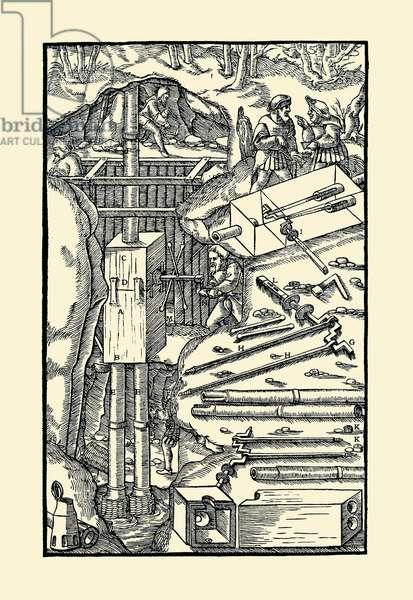 De Re Metallica Plate 10: Cranking the Axle, Mining (woodcut)