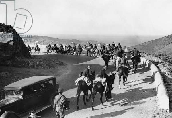 High angle view of a group of people horseback riding during a war, Spanish Civil War