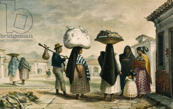 Native Women from Wild Country Seeking Work as Laundresses in Rio de Janeiro (colour litho)