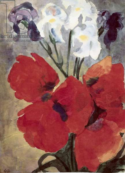 Poppy Flowers And Iris by Emil Nolde, 1867-1956