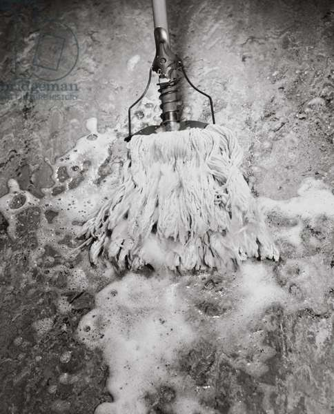 High angle view of a wet mop