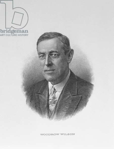 Portrait of Woodrow Wilson (1856-1924) 28th President of the United States of America (engraving)