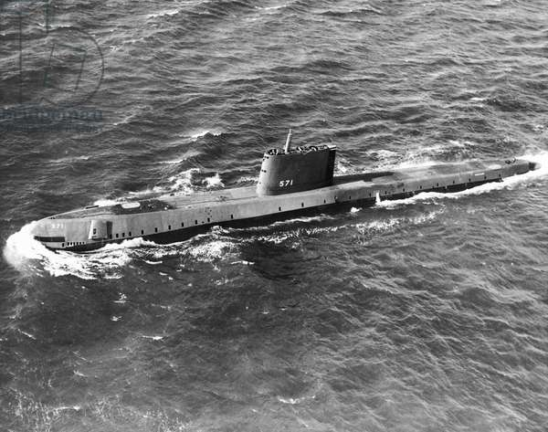 High angle view of the submarine USS Nautilus (b/w photo)