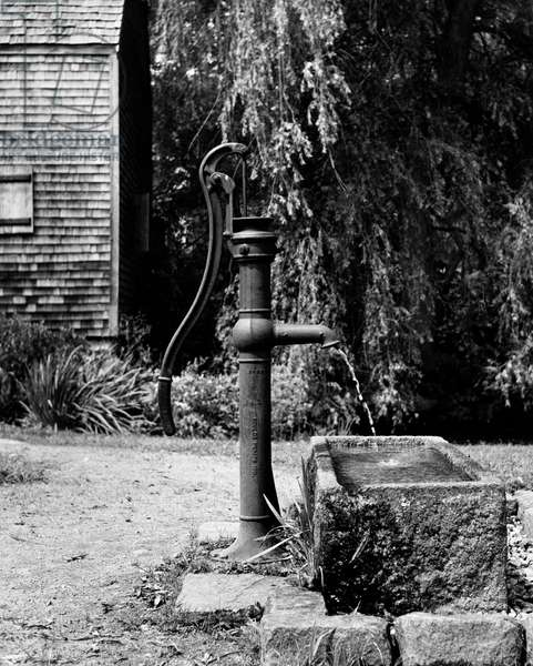 Water pouring from a water pump