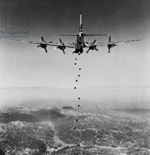 B-29 Superfortress dropping bombs during war, Korean War, North Korea, 1951