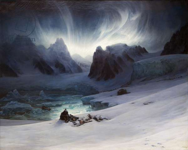 Magdalena Bay, view from peninsula in northern Spitsbergen with Aurora Borealis, 1841 (oil on canvas)
