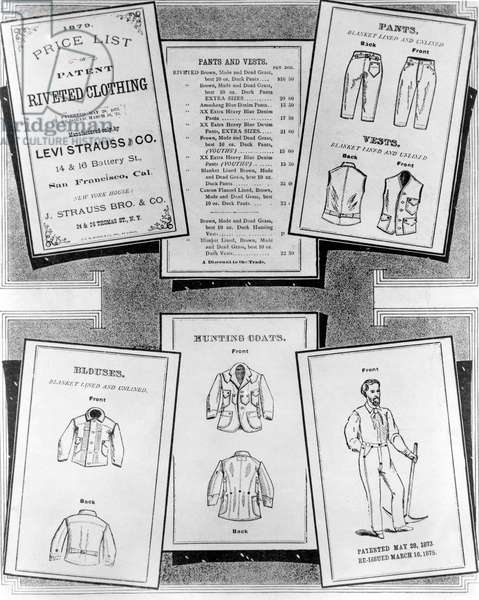 Close-up of sheets of patent clothing, Levi-Strauss Company, 1879