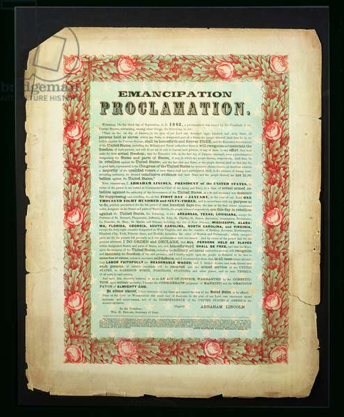 Emancipation Proclamation, by President Abraham Lincoln, 1862 (coloured engraving)