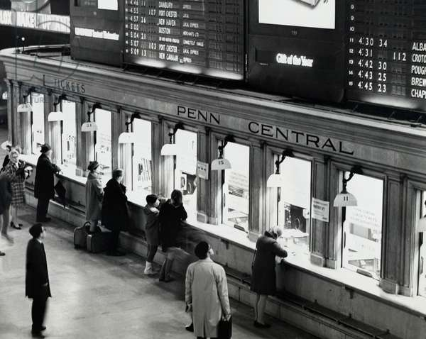 Group of people standing at ticket counter, Grand Central Terminal, New York City, New York, USA