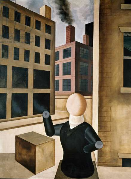 Figure in front of City Building by George Grosz, 1920, (1893-1959)
