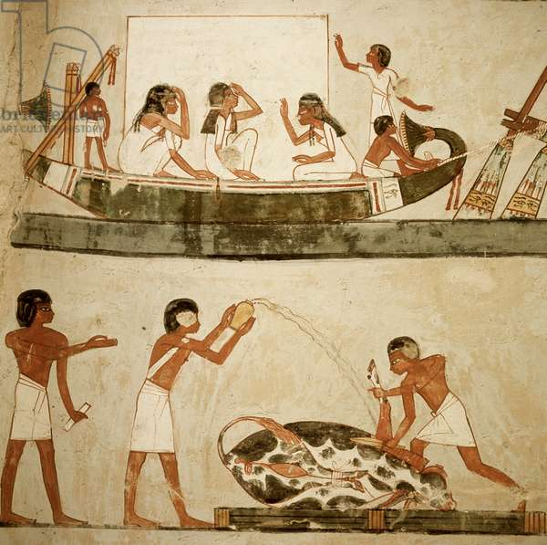 Menena Tomb: Boating/Fishing Egyptian Art Valley of the Kings, Thebes, Egypt