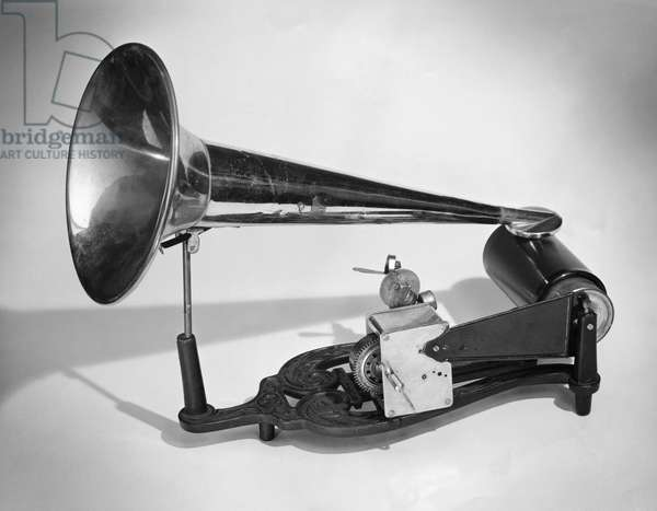 Close-up of a victorian style gramophone